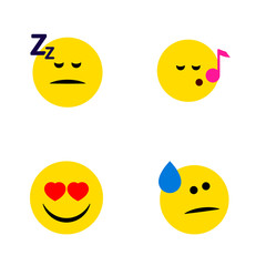 Flat Icon Gesture Set Of Asleep, Tears, Love And Other Vector Objects. Also Includes Emoji, Sleeping, Eyes Elements.