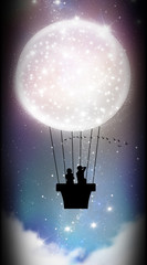 Starry hot air balloon sky adventure silhouette art photo manipulation