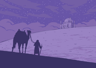 Man with camels and mosqe in the desert.  Vector illustration