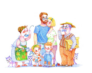 Family, drawing