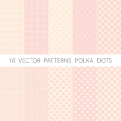 10 vector patterns seamless Pink and White Polka Dots