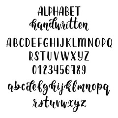 Handdrawn latin calligraphy brush script with numbers and symbols. Calligraphic alphabet. Vector