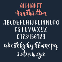 White handwritten latin calligraphy brush script with numbers and symbols. Calligraphic alphabet. Vector