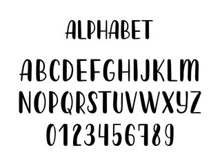Hand drawn latin calligraphy brush alphabet of capital letters. Vector