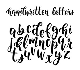 Handwritten latin calligraphy brush script of lowercase letters. Calligraphic alphabet. Vector