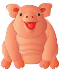 cartoon fat happy pig