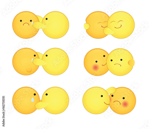 Set of cute hugging, comfort couple emoticons with big eyes