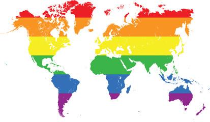 Iridescent world map