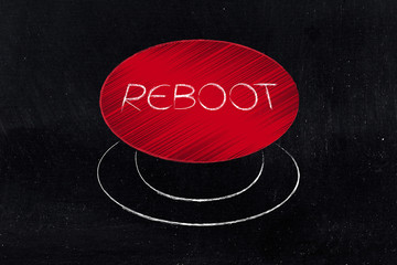 big red reboot button illustration