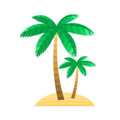 Abstract symbol of the palm. Vector illustration for magazine, poster, book cover, banner, flyer, booklet, print. Island, trunk, branches and leaves of the stripes.