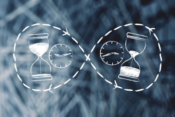 hourglass and clock before and after time passing
