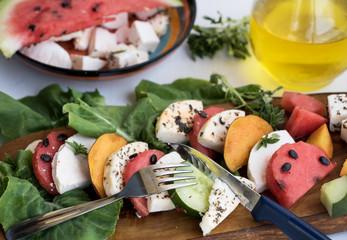 Recess Fitting Appetizer Sommerliche Vorspeise mit Wassermelone und Mozzarella