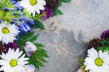 Daisies, Jacaranda and Amethyst Crystals