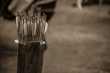 sepia arrows in ready for archery sports