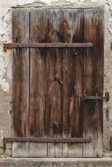 door old wooden with metal mount