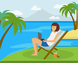 Happy girl working on the beach on the computer in the ideal paradise like island location. Work anywhere you like concept illustration vector.
