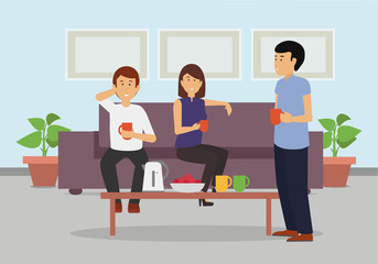 Three business colleagues enjoying coffee break at the office. Friendly conversation. Smiling colleagues concept illustration vector.