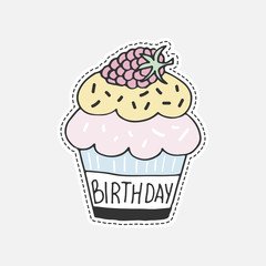 Sweet hand drawn cupcake. Isolated vector illustration in patch style. Great for stickers, embroidery, badges.
