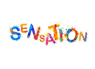 Sensation. Vector word of splash paint