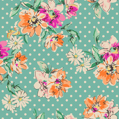 retro hand drawn flowers over polka dot background - seamless background