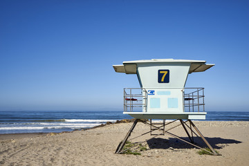 Close-up of lifeguard tower #7 on Ventura Beach, California