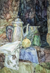 Primary watercolor glaze of still life