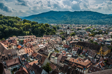 Freiburg city overview from top of cathedral