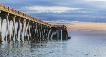 Pier on the coast of the Caspian Sea near Baku.Azerbaijan