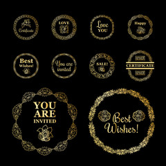 Round gold borders or frames set on the black background. Certificate and invitations and good wishes