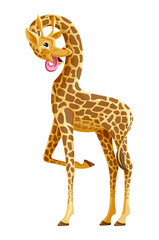 Giraffe full length, showing the language. Vector. Cartoon
