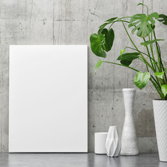 White poster on concrete wall, minimalism decor with plant, 3d illustration