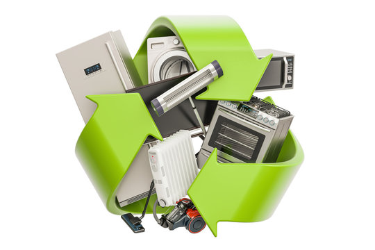 Green recycle symbol with household appliances, 3D rendering