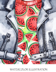 Watercolor illustration. Hand painted leather jacket with fresh watermelon. Healthy style.