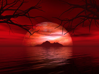 Photo sur Plexiglas Marron 3D landscape with fictional planet and island in sea