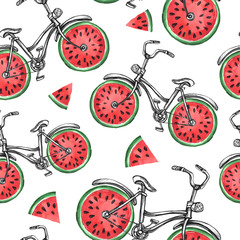 Watercolor seamless pattern bicycles with watermelon wheels. Colorful summer background.