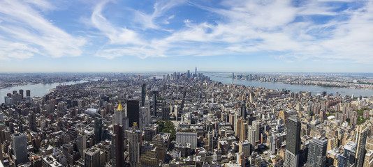 Aerial panoramic view of downtown Manhattan
