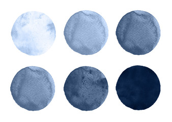 Watercolor circles collection gray colors. Stains set isolated on white background. Design elements