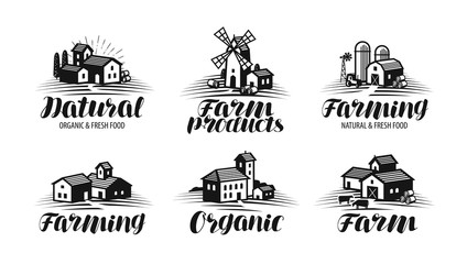 Farm, farming label set. Agriculture, agribusiness, building icon or logo. Lettering vector illustration