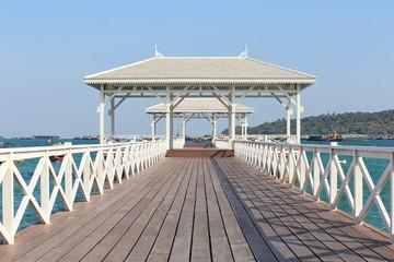 Asadang Bridge or wooden Bridge of Koh Si Chang Island.