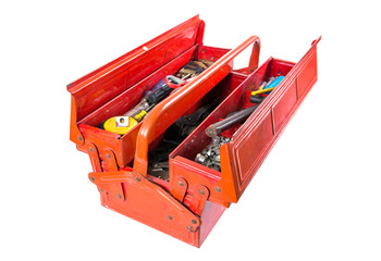Opened tool box with tools isolated on white background.Metal toolbox isolated