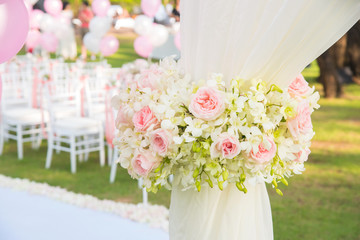 Flowers decoration in wedding ceremony.