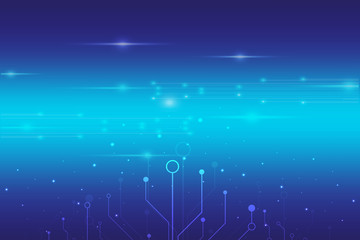 abstract digital technology with blue light background vector design,circuit