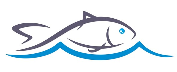Logo fish with blue wave.