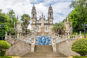 Azulejo decorated stairway to the Sanctuary of Our Lady of Remedios in Lamego ,Portugal Fototapete