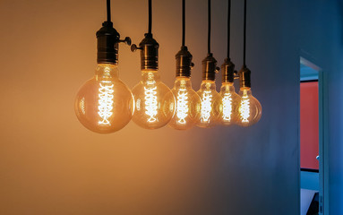 Group of Incandescent bulbs for home furnishings or restaurants style vintage.