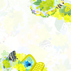 The frame that is made with yellow flower objects