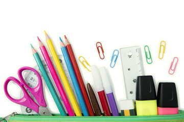 School and office stationery in pencil case