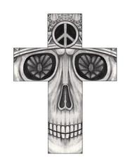 Art skull Cross.Hand drawing on paper.