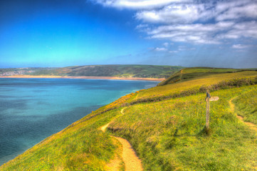 Wall Mural - Coast path to Woolacombe Devon England UK in summer with blue sky hdr