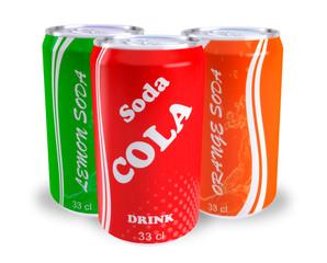 canettes sodas cola orange citron
